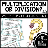 Multiplication and Division Word Problems Task Card Sort
