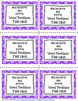 Multiplication and Division Word Problems Task Cards and Worksheets