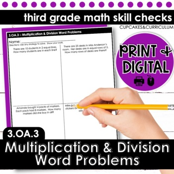 Multiplication and Division Word Problems - Third Grade Print and Go