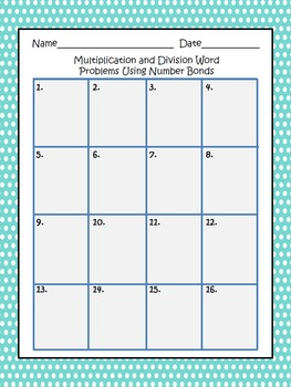 Multiplication and Division Word Problems Using Number Bonds
