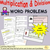 Multiplication and Division Word Problems, Worksheets and