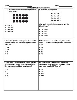 STAAR Multiplication and Division Word Problems for 3RD Grade