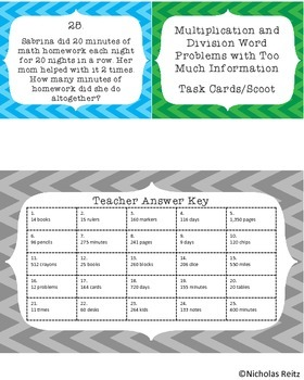 Multiplication and Division Word Problems with Too Much Information Task Cards