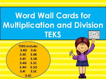 Multiplication & Division Vocabulary Word Wall Cards TEKS 3.4DEFGHIJK 3.5BCDE