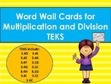 Multiplication & Division Vocabulary Word Wall Cards TEKS 3.4DEFGHIJK 3.5BCDE