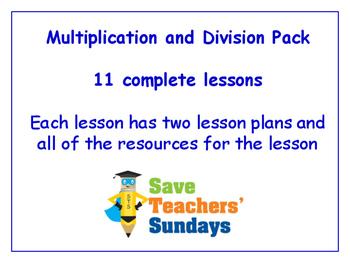 Multiplication and Division Worksheets Bundle/Pack (11 sets for 1st - 2nd grade)