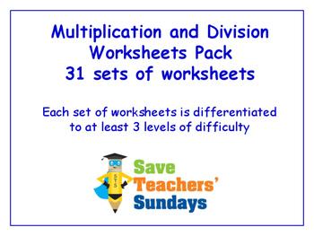 Multiplication and Division Worksheets Bundle/Pack (31 sets for 2nd-4th grade)
