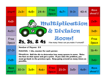 Multiplication and Division Zoom Gameboards