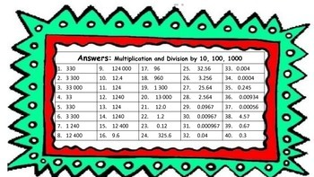 Multiplication and Division by 10, 100 and 1000 Task Cards