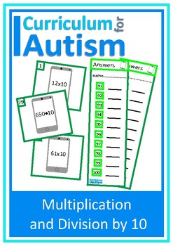 Multiply & Divide by 10 Task Cards (Cell Phone) Autism, Special Education