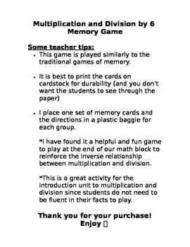 Multiplication and Division by 6 Memory Game
