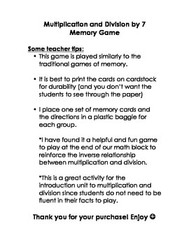 Multiplication and Division by 7 Memory Game
