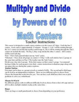 Multiplication and Division by Powers of 10 Centers and Activities
