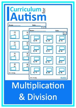Multiplication & Division by Single Digits Worksheets, Autism, math, Special Ed