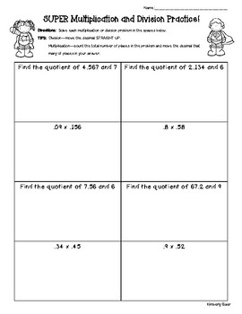 Multiplication and Division of Decimals Practice Worksheet