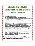 Multiplication and Division of Decimals: Scavenger Hunt