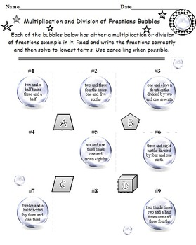 "Multiplication and Division of Fractions Bubbles ""Twist"""
