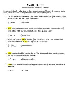 Multiplication and Division of Fractions Editable Word Problems