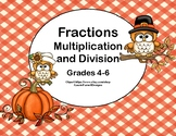 Multiplication and Division of Fractions-Grades 4-6-Task Cards-Thanksgiving