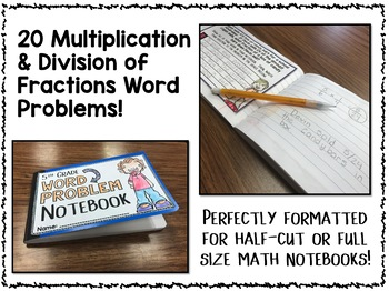 Multiplication and Division of Fractions Word Problems - 5th Grade Math Notebook