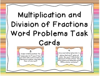Multiplication and Division of Fractions Word Problems Task Cards