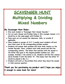 Multiplication and Division of Mixed Numbers: Scavenger Hunt