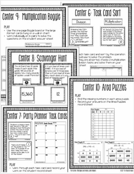 Multiplication and Division of Whole Numbers: 10 Print and Go Math Centers