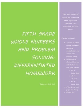 Multiplication and Division of Whole Numbers Homework