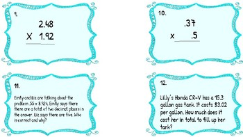 Multiplication and Division of Whole Numbers and Decimal Task Cards!