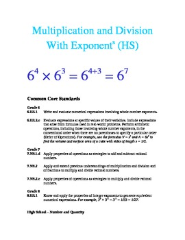 Multiplication and Division with Exponents (High School Lesson)