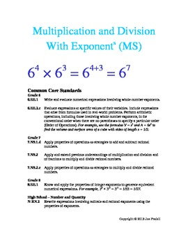 Multiplication and Division with Exponents (Middle School)