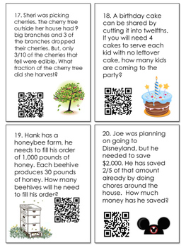 Multiplication and Division with Fractions QR Task Codes/Scoot Game