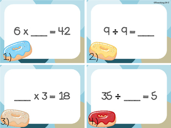 Multiplication and Division with Unknowns Task Cards