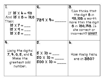 Multiplication and Place Value Scoot