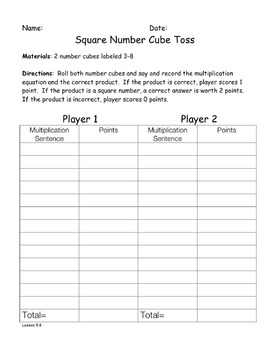 Multiplication and Square Numbers Game