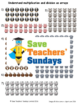 Multiplication and division arrays lesson plans, worksheets and more