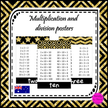 Multiplication and division posters in gold and black sparkle