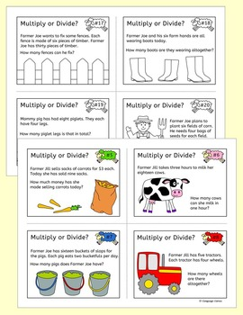 Farm Multiplication and division word problem task cards