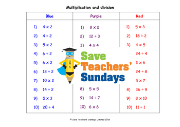 Multiplication and division worksheets (3 levels of difficulty)