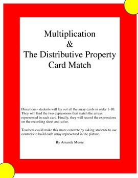 Multiplication and the Distributive Property Match Game