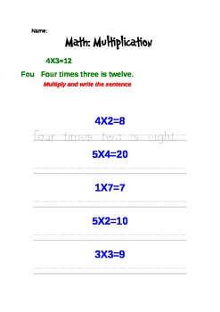 Multiplication and its Sentence (Worksheet)