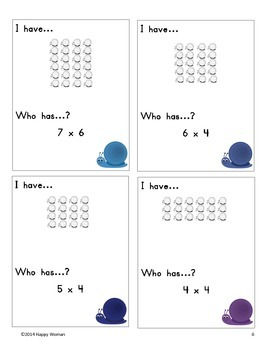 Multiplication (array model) I have...Who has...?