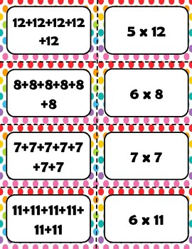 Multiplication as Repeated Addition Memory Game