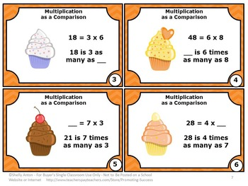 Multiplication as Comparison Task Cards, 4th Grade Math Review Games