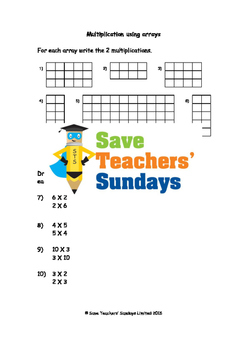 Multiplication as Arrays Worksheets (2 levels of difficulty)