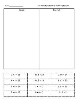 Multiplication basic facts sort: correct or incorrect