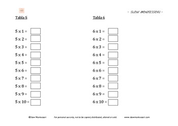 Multiplication books / Libros de mutiplicacion