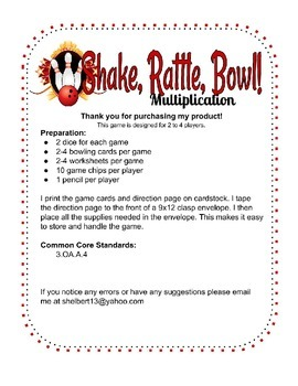 Multiplication bowling game- 3rd grade common core activity