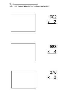 Multiplication- box method and algorithm- 2 by 1, 3 by 1, 2 by 2