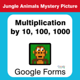 Multiplication by 10, 100, 1000 - Animals Mystery Picture